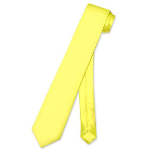 Biagio 100% Silk Narrow NeckTie Skinny Yellow Color Mens Neck Tie