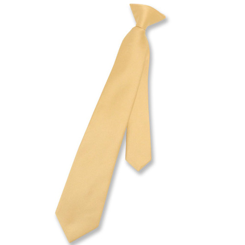 Vesuvio Napoli Boys Clip-On NeckTie Solid Gold Youth Neck Tie