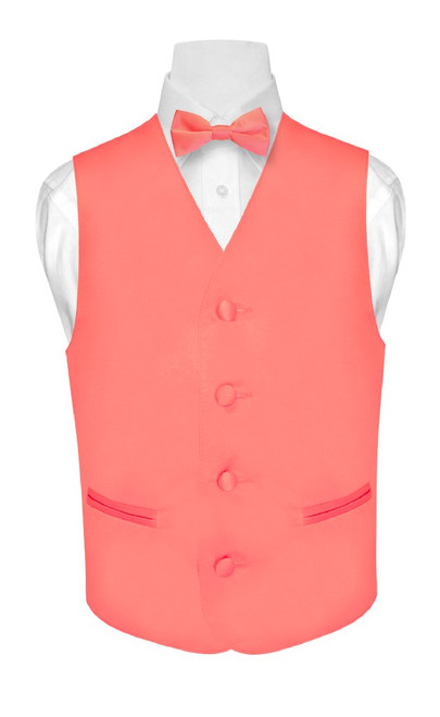 Boys Coral Pink Tie | Boys Coral Pink Dress Vest And BowTie Set