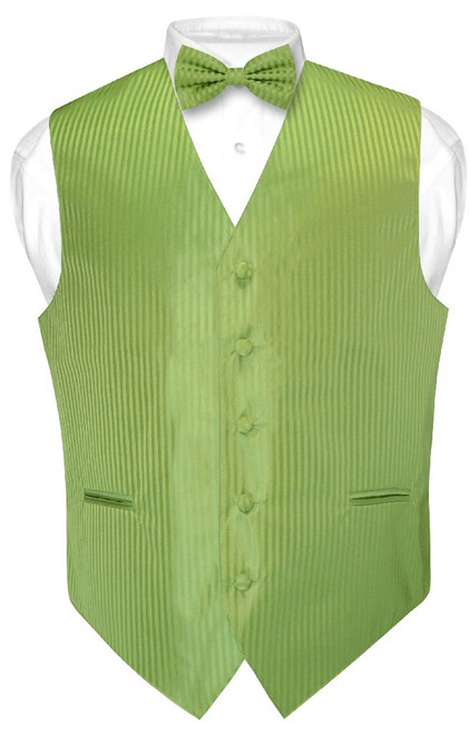Mens Dress Vest BowTie Spinach Green Color Vertical Stripe Bow Tie Set