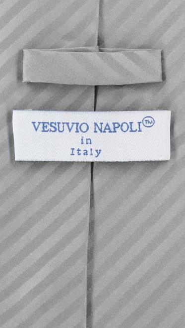 Vesuvio Napoli Silver Grey Striped NeckTie & Handkerchief Neck Tie Set
