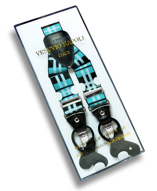 Mens Plaid Design Black Turquoise White Suspenders Y Shape Buttons Clips