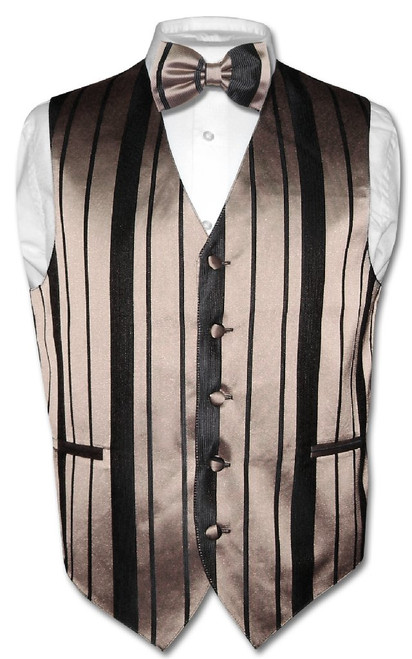 Mens Dress Vest BowTie Taupe Light Brown Woven Striped Bow Tie Set