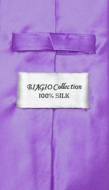 Biagio 100% Silk NeckTie Extra Long Solid Purple Mens XL Neck Tie