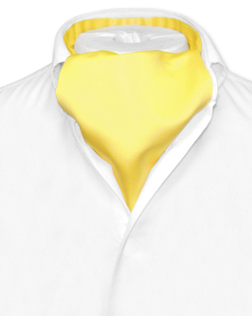Yellow Cravat Tie | Vesuvio Napoli Mens Solid Color Ascot Cravat Tie