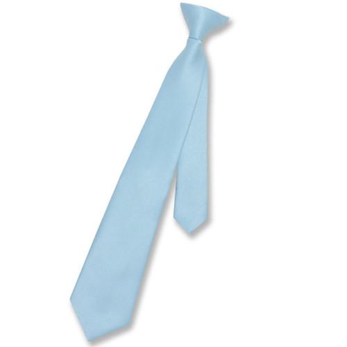 Vesuvio Napoli Boys Clip-On NeckTie Solid Baby Blue Youth Neck Tie