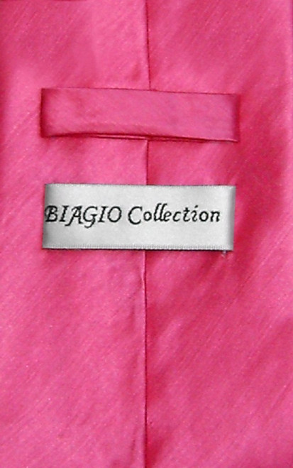 Biagio Mens Hot Pink Fuchsia Bamboo Silk Dress Vest Neck Tie Set sz L
