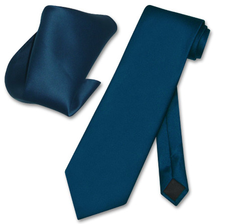 Vesuvio Napoli Solid Blue Sapphire NeckTie Handkerchief Mens Tie Set