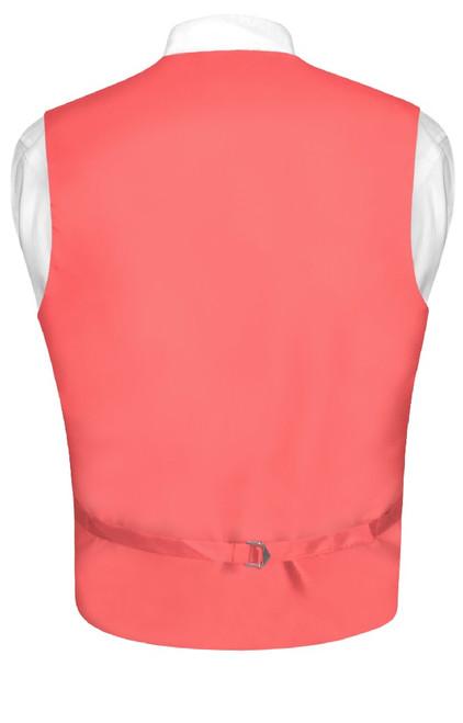 Mens Paisley Design Dress Vest & NeckTie Coral Pink Color Neck Tie Set