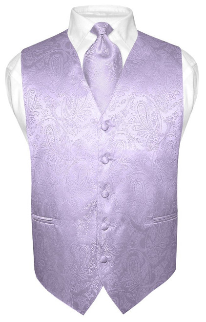 Mens Paisley Design Dress Vest & NeckTie Lavender Purple Neck Tie Set