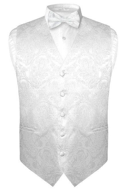 Mens Paisley Design Dress Vest & Bow Tie White Color BowTie Set