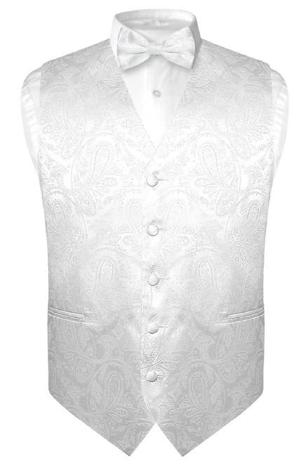 Mens Paisley Design Dress Vest & Bow Tie White Color BowTie Set