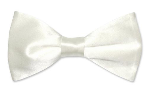 Solid Off-White Color Mens Bowtie | Biagio Silk Pre Tied Mens Bow Tie