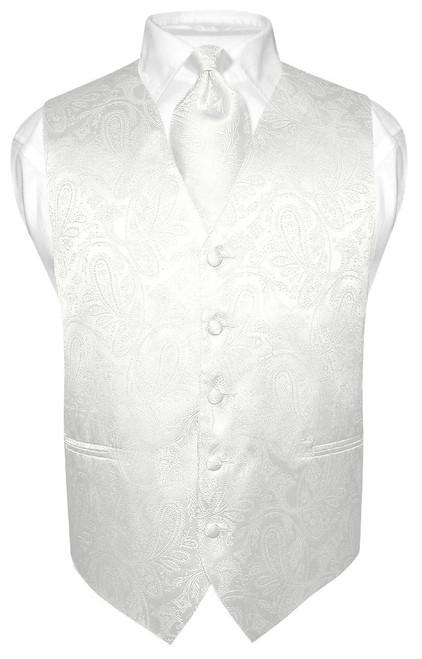 Mens Paisley Design Dress Vest & NeckTie Off-White Cream Neck Tie Set