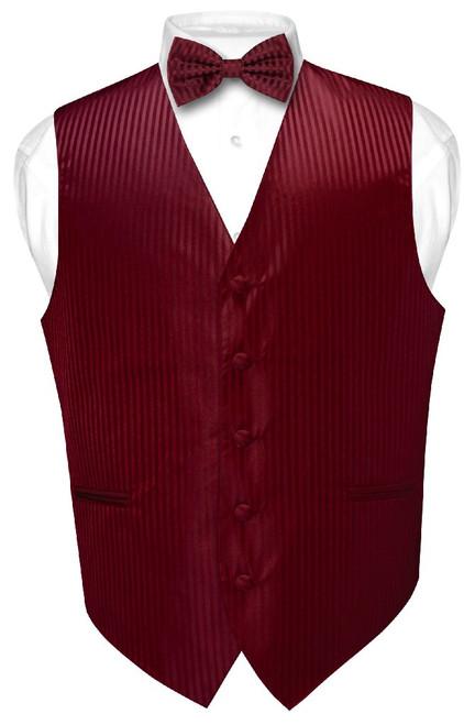 Mens Dress Vest BowTie Burgundy Color Vertical Striped Bow Tie Set