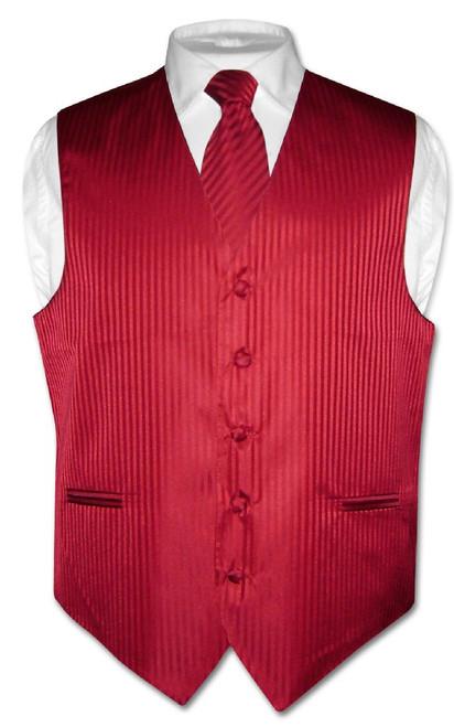 Mens Dress Vest & NeckTie Red Color Vertical Striped Neck Tie Set