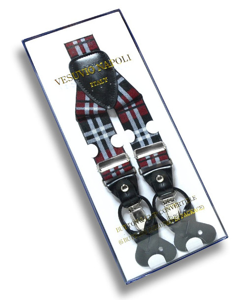 Mens Plaid Design Burgundy White Suspenders Y Shape Buttons & Clips