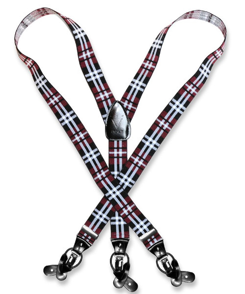 Mens Plaid Design Burgundy White Suspenders Y Shape Buttons & Clips