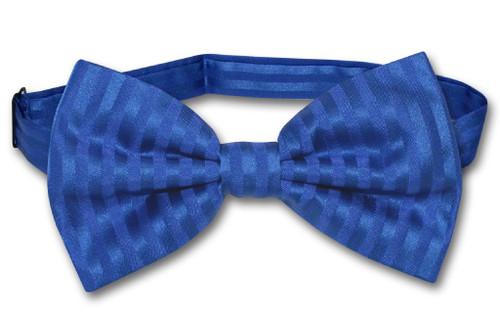 Vesuvio Napoli BowTie Royal Blue Color Vertical Stripes Mens Bow Tie