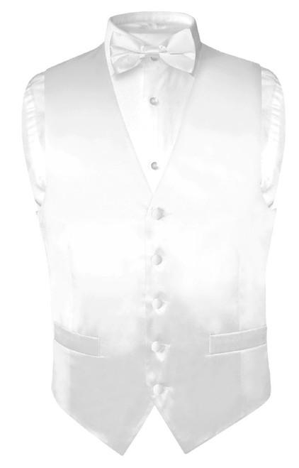 Biagio Mens Silk Dress Vest & Bow Tie Solid White Color BowTie Set