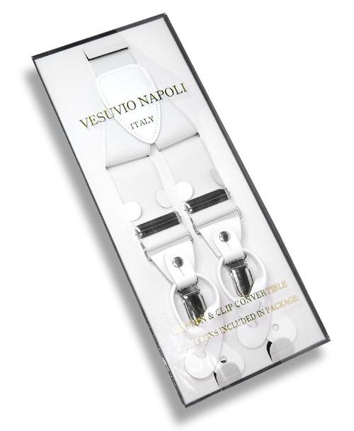 Mens White Suspenders Y Shape Back Elastic Button & Clip Convertible
