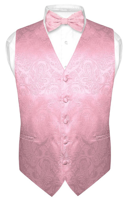Mens Paisley Design Dress Vest & Bow Tie Pink Color BowTie Set