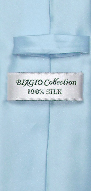 Biagio 100% Silk Narrow NeckTie Skinny Baby Blue Color Mens Neck Tie