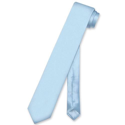 Biagio 100% Silk Narrow NeckTie Skinny Baby Blue Color Mens Neck Tie