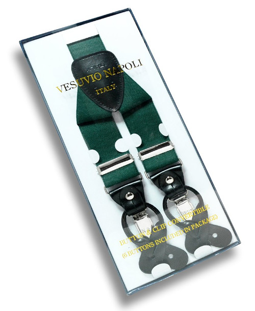 Mens Solid Forest Hunter Green Suspenders Y Shape Back Button & Clips