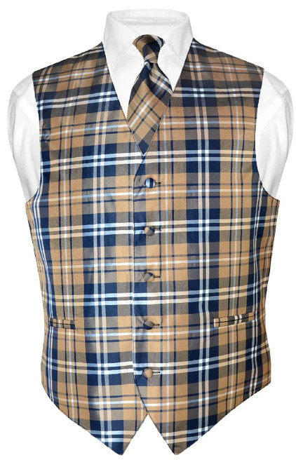 Mens Plaid Design Dress Vest & NeckTie Navy Brown White Neck Tie Set