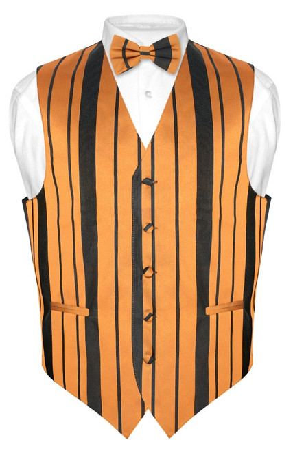 Mens Dress Vest BowTie Gold Black Color Woven Striped Bow Tie Set