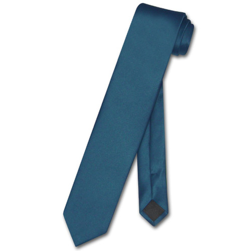 Vesuvio Napoli Narrow NeckTie Skinny Blue Sapphire Mens Thin Neck Tie