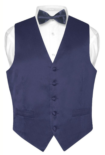 Navy Blue Vest and Bow Tie | Silk Solid Color Vest BowTie Set