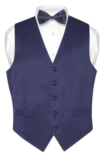 Biagio Mens Silk Dress Vest & Bow Tie Solid Navy Blue Color BowTie Set