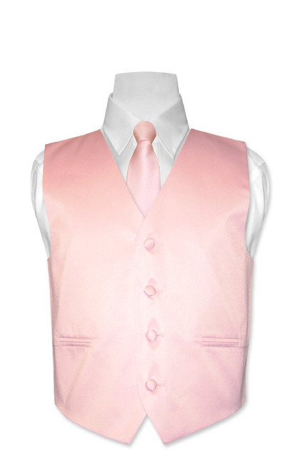 Covona Boys Dress Vest & NeckTie Solid Pink Color Neck Tie Set size 14
