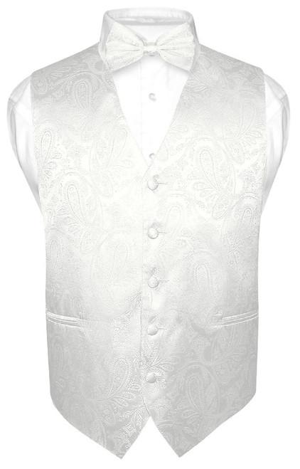 Mens Paisley Design Dress Vest & Bow Tie Off-White Cream BowTie Set