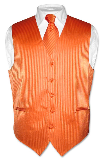 Mens Dress Vest & NeckTie Orange Color Vertical Striped Neck Tie Set