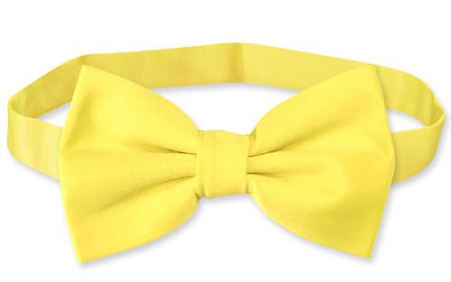 Mens Dress Vest & BowTie Solid Golden Yellow Color Bow Tie Set