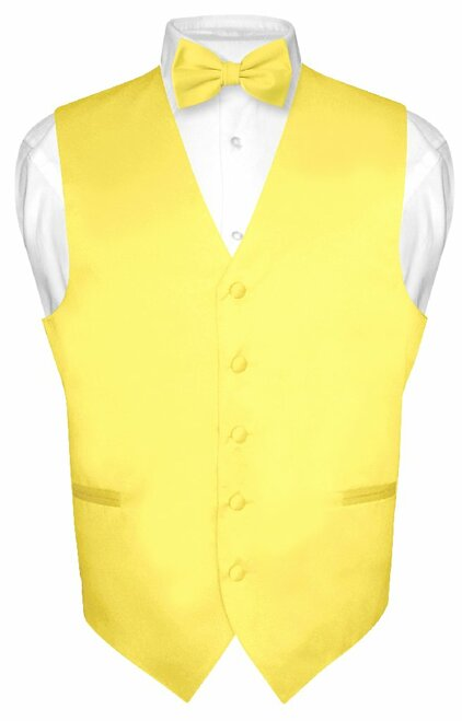 Mens Dress Vest & BowTie Solid Golden Yellow Color Bow Tie Set