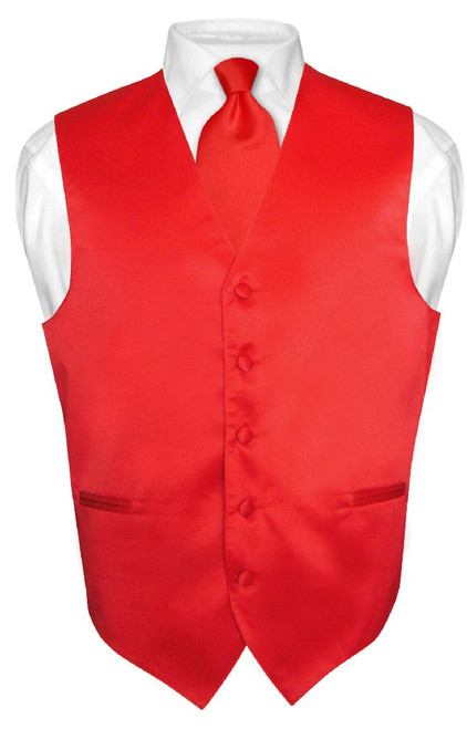 Mens Dress Vest & NeckTie Solid Red Color Neck Tie Set