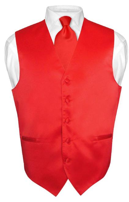 Mens Dress Vest & NeckTie Solid Red Color Neck Tie Set