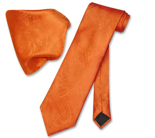 Vesuvio Napoli Burnt Orange Paisley NeckTie Handkerchief Neck Tie Set