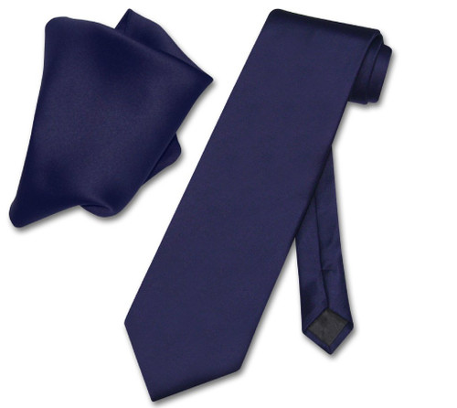 Vesuvio Napoli Solid Navy Blue NeckTie Handkerchief Mens Neck Tie Set