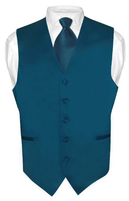 Mens Dress Vest & NeckTie Solid Blue Sapphire Color Neck Tie Set