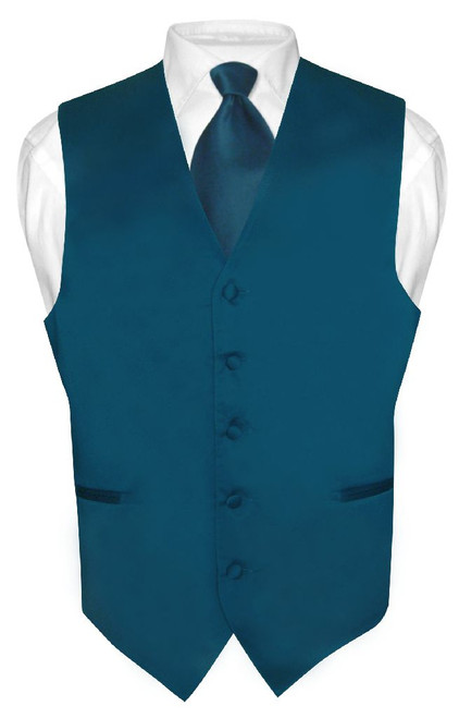 Mens Dress Vest & NeckTie Solid Blue Sapphire Color Neck Tie Set