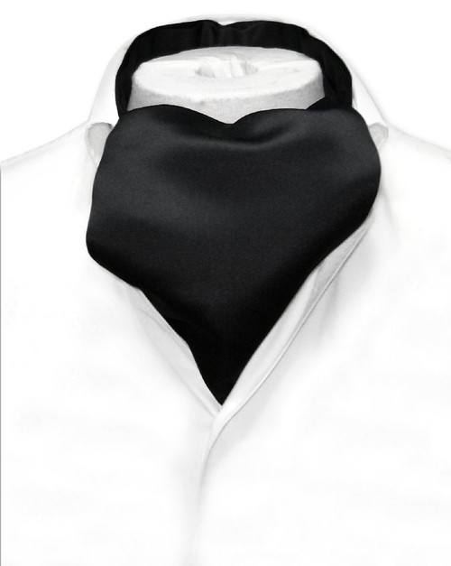 Black Cravat Tie | Vesuvio Napoli Mens Solid Color Ascot Cravat Tie