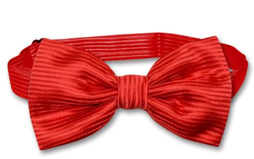 Vesuvio Napoli BowTie Red Color Woven Horizontal Striped Mens Bow Tie