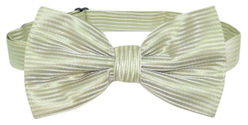 Vesuvio Napoli BowTie Sage Green Horizontal Stripe Mens Bow Tie