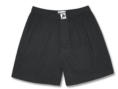 100% Knit Cotton Boxer Shorts | Biagio Mens Solid Black Boxers