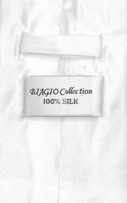 Biagio 100% Silk Solid White Color NeckTie & Hanky Mens Neck Tie Set